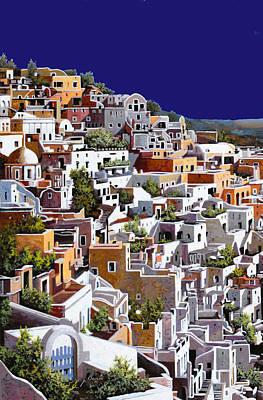 White House Painting - alba a Santorini by Guido Borelli