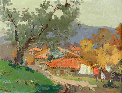 Olive Tree Painting - Albanian Countryside by Ylli Haruni