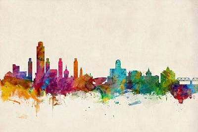 New York Digital Art - Albany New York Skyline by Michael Tompsett