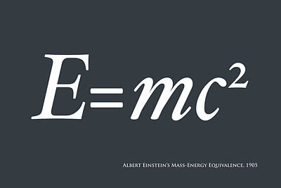 Albert Einstein E Equals Mc2 Print by Michael Tompsett