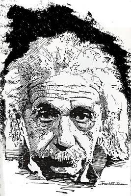 Einstein Drawing - Albert Einstein by Jerrett Dornbusch