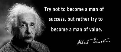 Moral Digital Art - Albert Einstein Speaks About Character by Daniel Hagerman