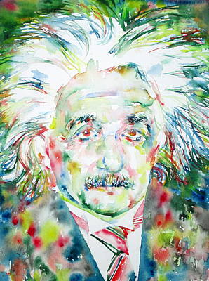 Albert Einstein Watercolor Portrait.1 Print by Fabrizio Cassetta