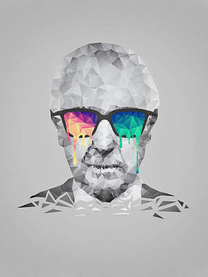 Albert Hofmann - Psychedelic Polygon Crystalised Portrait Print by Philipp Rietz
