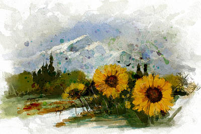 Snowy Mountains Painting - Alberta Landscape 1b by Mahnoor Shah