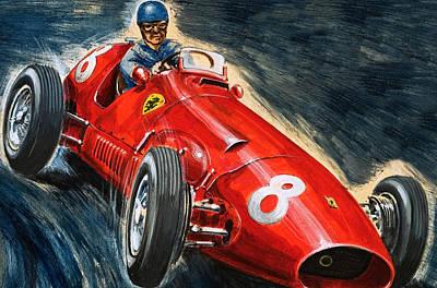 Car Drawing - Alberto Ascari Driving A Maserati by English School