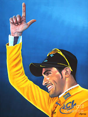 Cyclist Painting - Alberto Contador by Paul Meijering