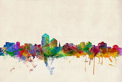 Mexico Digital Art - Albuquerque New Mexico Skyline by Michael Tompsett