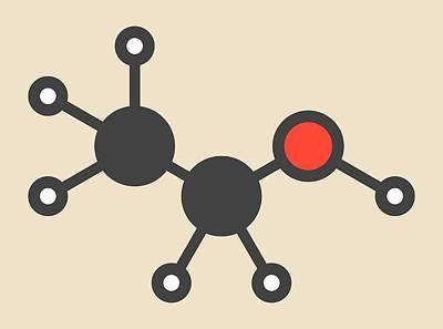Stylized Beverage Photograph - Alcohol Molecule by Molekuul