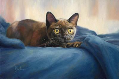 Burmese Python Painting - Alert by Lucie Bilodeau