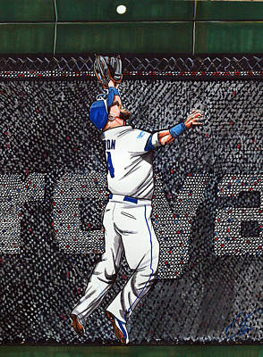 Kansas City Drawing - Alex Gordon's Amazing Alcs Catch For The Kc Royals by Dave Olsen