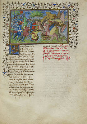 Personalities Photograph - Alexander Fights Dragons by British Library