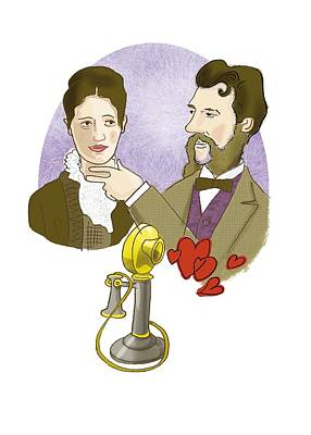 Alexander G. Bell With His Future Wife Print by Science Photo Library