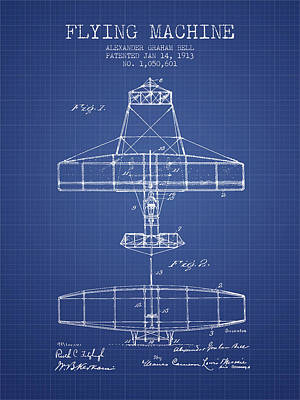 Alexander Graham Bell Flying Machine Patent From 1913 - Blueprin Print by Aged Pixel