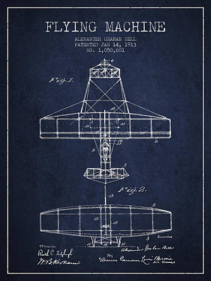 Alexander Graham Bell Flying Machine Patent From 1913 - Navy Blu Print by Aged Pixel