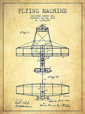 Alexander Graham Bell Flying Machine Patent From 1913 - Vintage Print by Aged Pixel