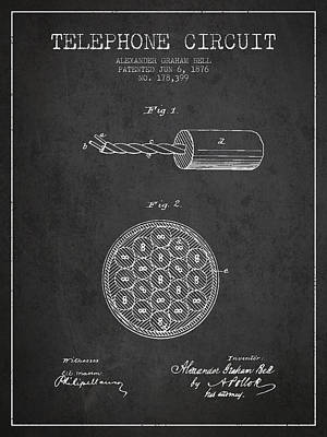 Alexander Graham Bell Telephone Circuit Patent From 1876 - Dark Print by Aged Pixel