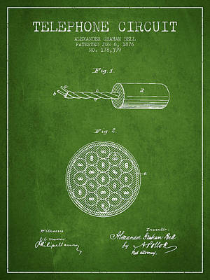 Alexander Graham Bell Telephone Circuit Patent From 1876 - Green Print by Aged Pixel