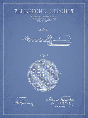Alexander Graham Bell Telephone Circuit Patent From 1876 - Light Print by Aged Pixel