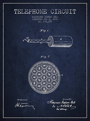 Alexander Graham Bell Telephone Circuit Patent From 1876 - Navy  Print by Aged Pixel