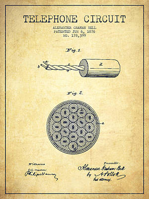 Alexander Graham Bell Telephone Circuit Patent From 1876 - Vinta Print by Aged Pixel