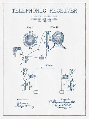 Alexander Graham Bell Telephonic Receiver Patent From 1881  - Bl Print by Aged Pixel