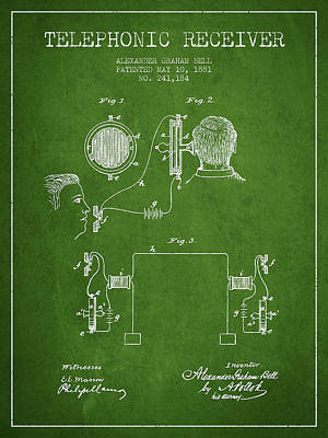 Alexander Graham Bell Telephonic Receiver Patent From 1881- Gree Print by Aged Pixel
