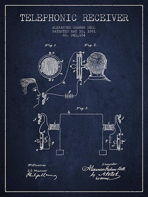Alexander Graham Bell Telephonic Receiver Patent From 1881- Navy Print by Aged Pixel