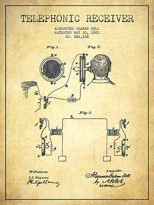 Alexander Graham Bell Telephonic Receiver Patent From 1881- Vint Print by Aged Pixel