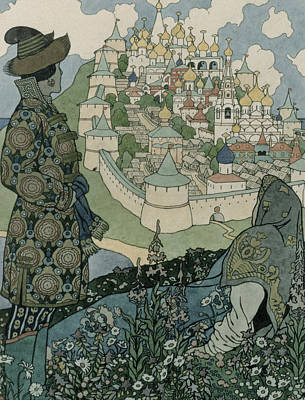 Cathedral Drawing - Alexander Pushkin's Fairytale Of The Tsar Saltan by Ivan Jakovlevich Bilibin