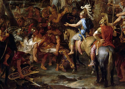 Raja Painting - Alexander The Great And Raja Por In The Battle Of Hydaspes by Celestial Images