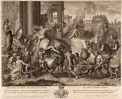 Alexander The Great Drawing - Alexander The Great Enters Babylonia by Jean Audran