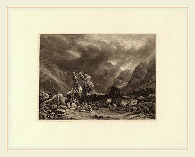 Storm Drawing - Alexandre Calame, Storm In The Mountains by Litz Collection