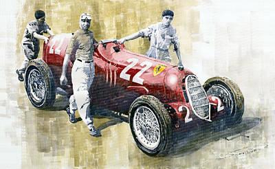 Romeo Painting - Alfa Romeo 12c-36 Tazio Nuvolari Coppa Ciano Race 1937 by Yuriy  Shevchuk