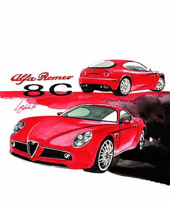 Romeo Painting - Alfa Romeo 8c Competizione by Yoshiharu Miyakawa
