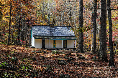 Alfred Reagan's Home In Fall Print by Debbie Green