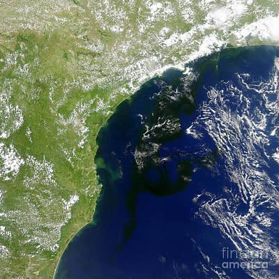 Algal Bloom Off Brazil Coast Print by Science Source