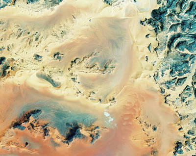 Satellite Image Photograph - Algerian Sahara by Geoeye