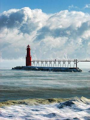 Lake Michigan Painting - Algoma Pierhead Lighthouse by Christopher Arndt