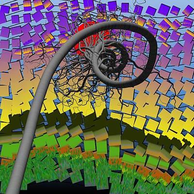Algorithmic Art - Spiral Tree Print by GuoJun Pan