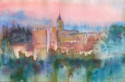 Wet Into Wet Watercolor Painting - Alhambra De Granada by Yevgenia Watts