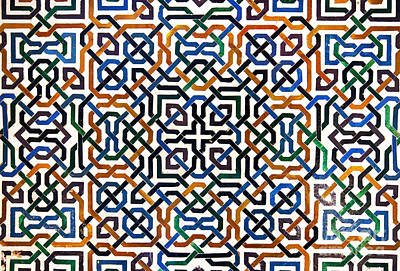 Carved Photograph - Alhambra Tile Detail by Jane Rix