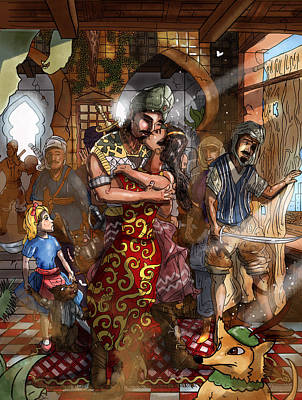 Baba Painting - Ali Baba And Mina The Kiss by Reynold Jay