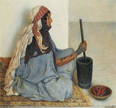 Alia Sitting And Grinding Vegetables Print by Alexandre Roubtzoff