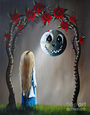 Tim Burton Like Painting - Alice In Wonderland Original Artwork - Alice And The Beautiful Nightmare by Shawna Erback