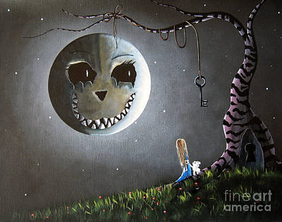 Lowbrow Painting - Alice In Wonderland Original Artwork - Alice And The Cheshire Moon by Shawna Erback
