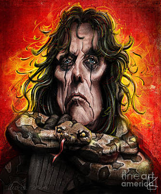 Andre Drawing - Alice Cooper by Andre Koekemoer