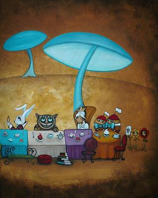 Dee Painting - Alice In Wonderland Art - Mad Hatter's Tea Party II by Charlene Murray Zatloukal