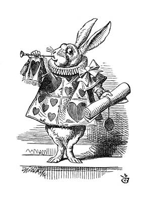 Restoration Drawing - Alice's White Rabbit by James Temple