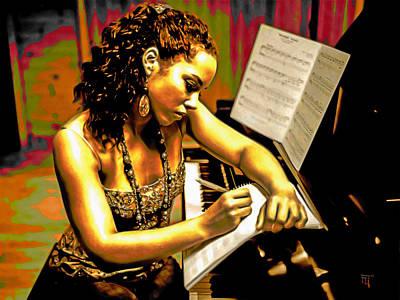Sitting Digital Art - Alicia Keys by  Fli Art